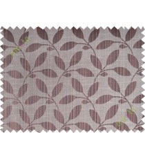 Chocolate brown leafy design polycotton main curtain designs