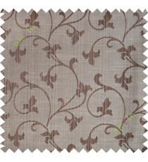 Chocolate brown botanical design polycotton main curtain designs
