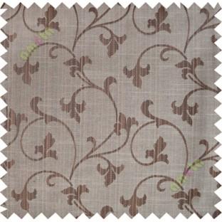 Chocolate brown botanical design polycotton main curtain designs