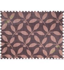 Dark brown leafy design polycotton main curtain designs