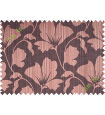 Dark brown floral design polycotton main curtain designs