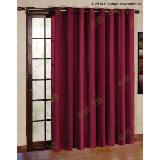 Red vertical pencil stripes polycotton main curtain designs