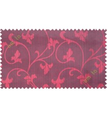 Red botanical design polycotton main curtain designs
