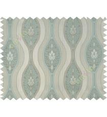 Aqua blue grey motifs polycotton main curtain designs