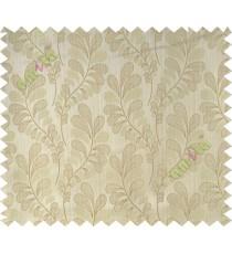 Beige grey trendy leaf polycotton main curtain designs
