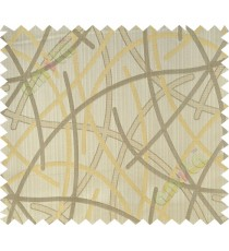 Beige yellow shiny cross lines polycotton main curtain designs