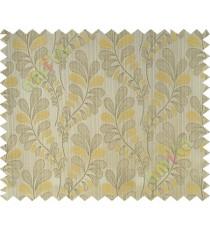 Beige yellow trendy leaf polycotton main curtain designs