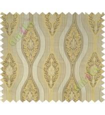 Beige yellow motifs polycotton main curtain designs