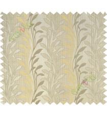 Beige yellow leafy design polycotton main curtain designs