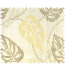Beige yellow big leaf polycotton main curtain designs