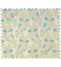 Aqua blue beige trendy leaf polycotton main curtain designs