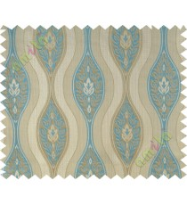 Aqua blue beige motifs polycotton main curtain designs
