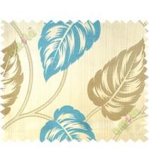Aqua blue big leaf polycotton main curtain designs