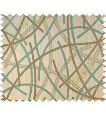 Lagoon green beige shiny cross lines polycotton main curtain designs