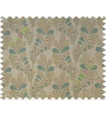 Lagoon green brown trendy leaf polycotton main curtain designs