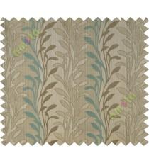 Lagoon green beige leafy design polycotton main curtain designs