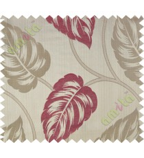 Pink beige big leaf polycotton main curtain designs