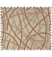 Orange brown shiny cross lines polycotton main curtain designs