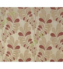 Orange brown trendy leaf polycotton main curtain designs