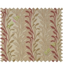 Orange beige leafy design polycotton main curtain designs
