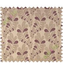 Dark purple brown trendy leaf polycotton main curtain designs
