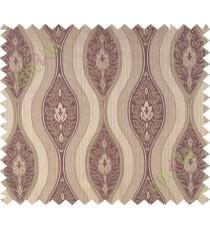 Dark purple brown motifs polycotton main curtain designs