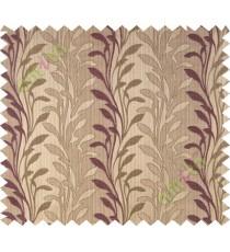 Dark purple brown leafy design polycotton main curtain designs