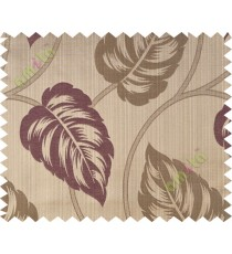 Dark purple brown big leaf polycotton main curtain designs