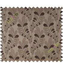 Brown grey trendy leaf polycotton main curtain designs