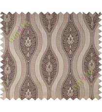 Brown beige motifs polycotton main curtain designs