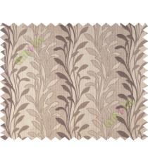 Brown grey leafy design polycotton main curtain designs