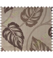 Brown grey big leaf polycotton main curtain designs