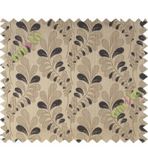 Black brown trendy leaf polycotton main curtain designs