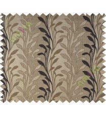 Black brown leafy design polycotton main curtain designs