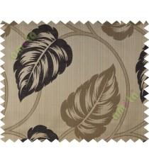 Black brown big leaf polycotton main curtain designs