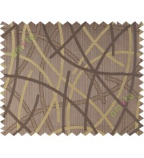 Brown yellow shiny cross lines polycotton main curtain designs