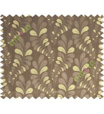 Brown yellow trendy leaf polycotton main curtain designs