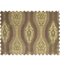 Yellow brown motifs polycotton main curtain designs