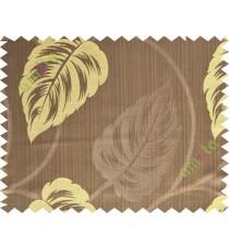 Brown yellow big leaf polycotton main curtain designs