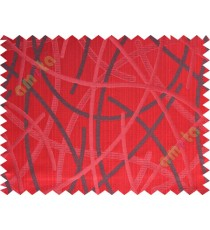 Red black shiny cross lines polycotton main curtain designs