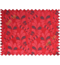 Red black trendy leaf polycotton main curtain designs