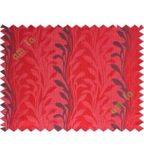 Red black leafy design polycotton main curtain designs