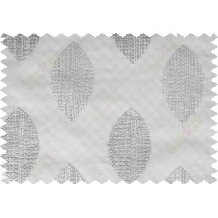 Grey green contemporary leaf design sheer curtain designs