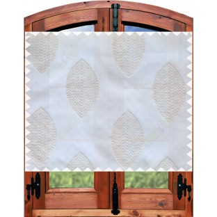 White grey contemporary leaf design sheer curtain designs