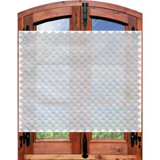 Beige white geometric small squares design poly sheer curtain designs