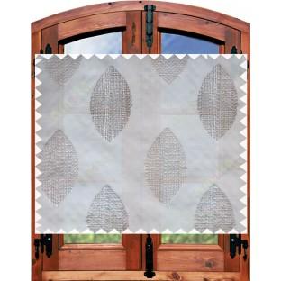 Grey green contemporary leaf design sheer curtain designs