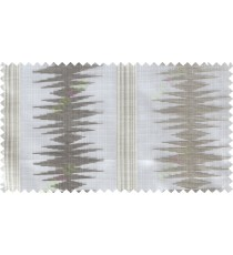 Brown white contemporary vertical ikat pattern poly sheer curtain designs