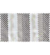 White grey brown geometric circles with vertical stripes poly sheer curtain designs