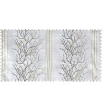 White beige grey colour creepers with vertical stripes poly sheer curtain designs