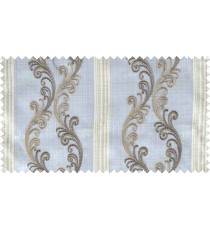 White brown grey beige traditional motif with vertical pencil stripes poly sheer curtain designs